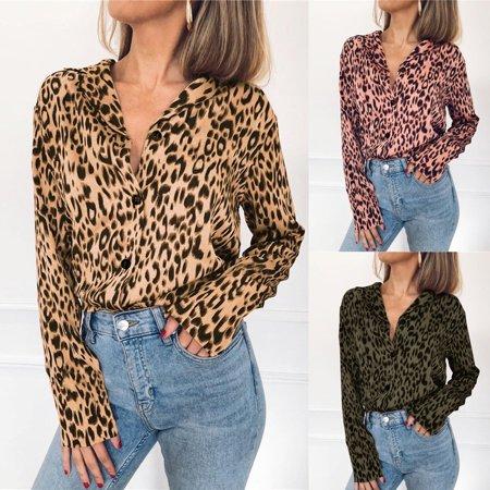 Autumn Fashion Leopard Print Blouse Long Sleeve Women Casual Loose Chiffon