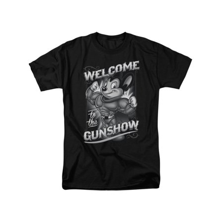 Mighty Mouse Cartoon CBS TV Series Mighty Gunshow Adult T-Shirt Tee