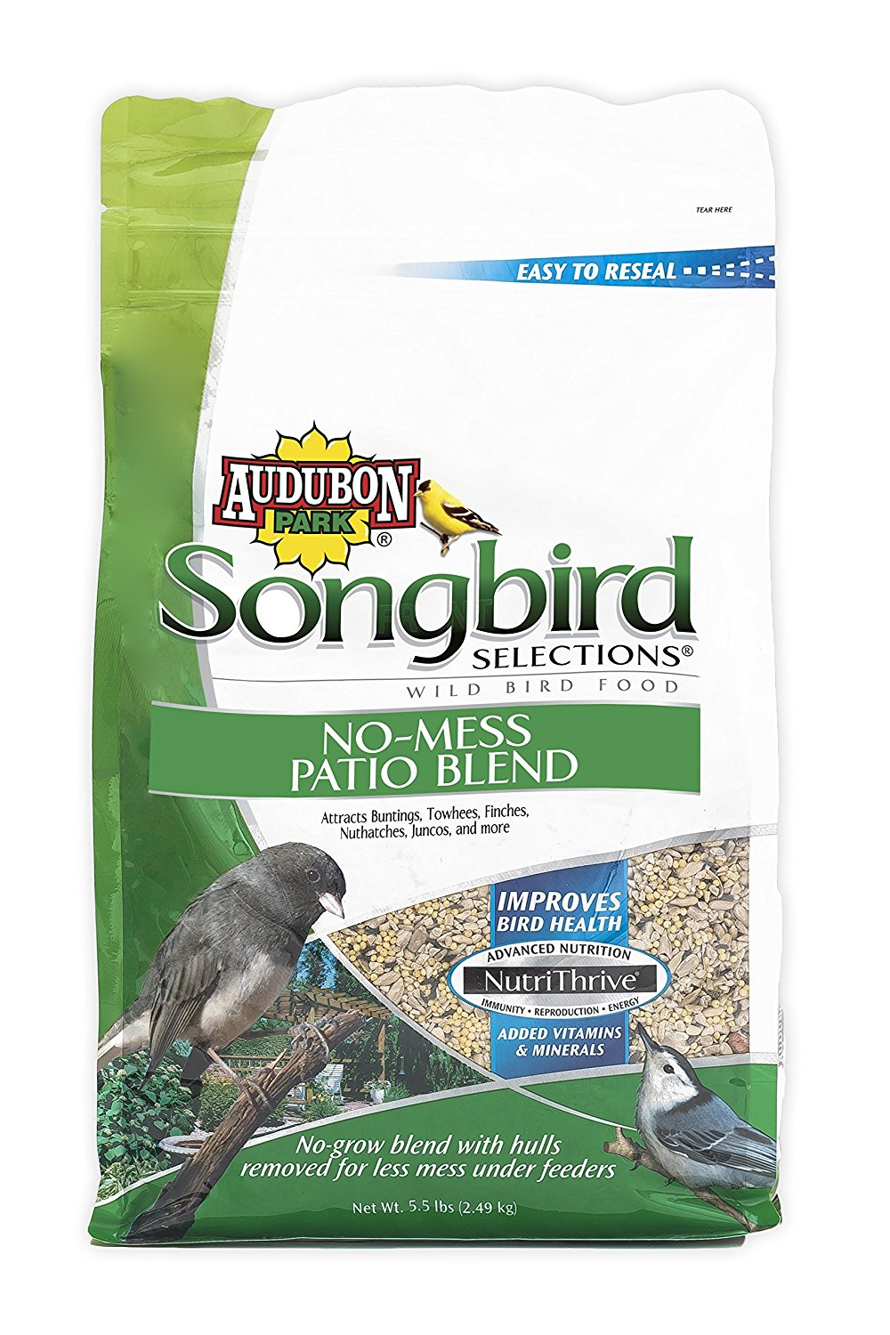 11987 No-Mess Patio Blend Wild Bird Food, 5.5-Pound, No-grow blend for less mess under feeders perfect for... by