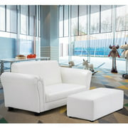 Costway White Kids Sofa Armrest Chair Couch Lounge Children Birthday Gift w/ Ottoman