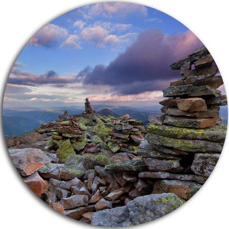 DESIGN ART Designart 'Piled Stones in Summer Mountains' Landscape Photo Disc Metal Wall Art