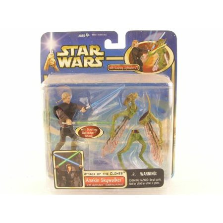 Star Wars: Episode 2 Deluxe Anakin Skywalker with Lightsaber Slashing Action Action Figure By Hasbro](Anakin's Blue Lightsaber)