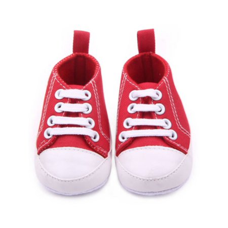 JLONG Infant Boy Girl Soft Sole Anti-slip Lace Up Canvas Sneakers For 0-12M Baby