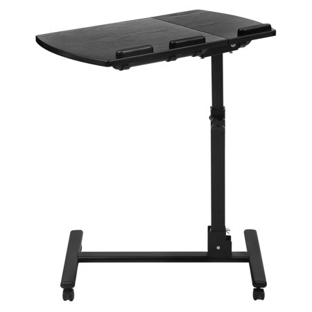 Portable Rolling Laptop Cart, Mobile Desk Notebook with Angle-and-Height-Adjustable Split-Top, Side Table, 360 Degree Swivel and 4 Lockable Casters for Sofa Bed Office Table (Mobile Desk Cart)