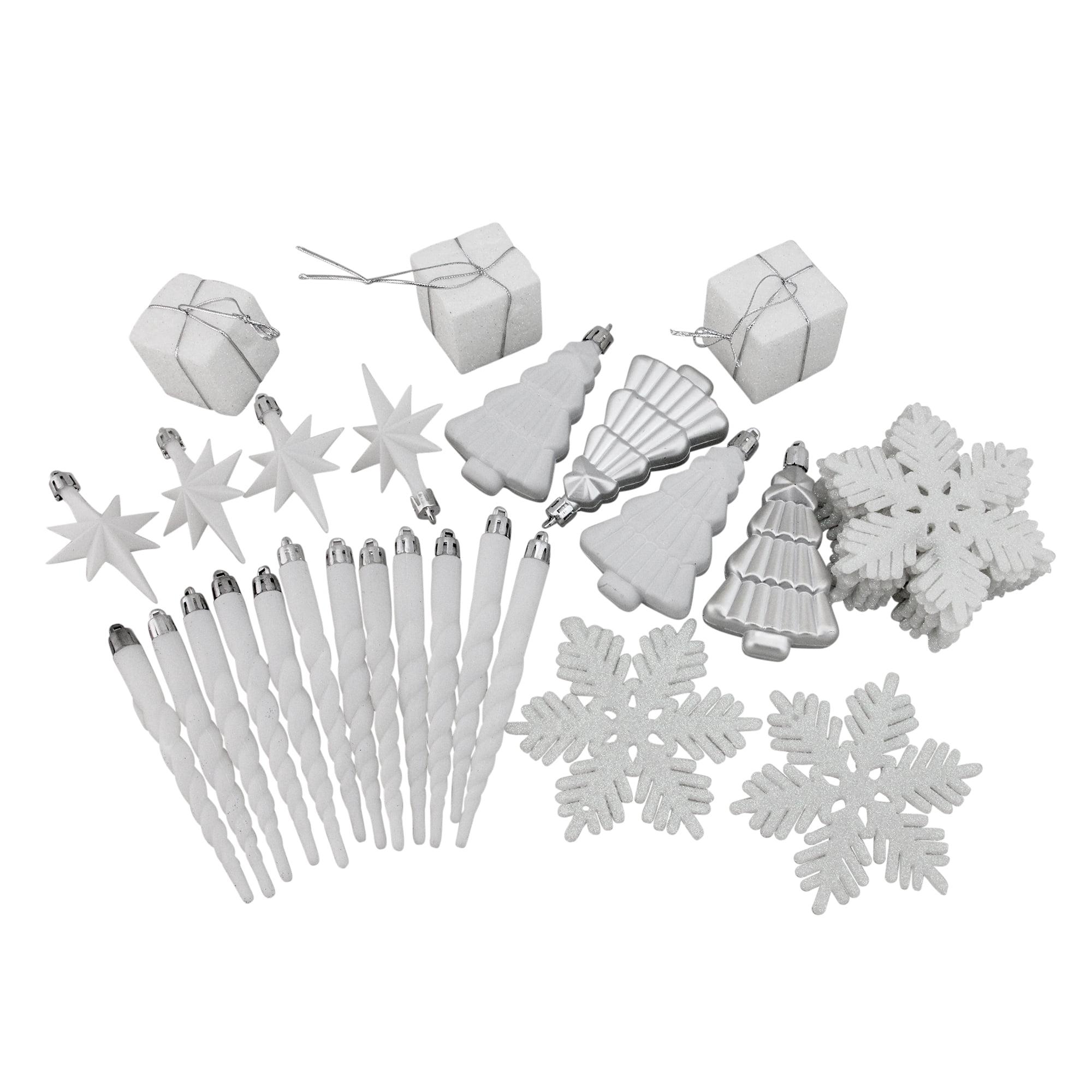 125ct Winter White and Silver Splendor Shatterproof 4-Finish Christmas Ornaments