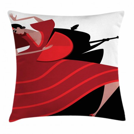 Spanish Throw Pillow Cushion Cover, Baile Flamenco Dancing Woman Silhouette of Guitarist Man on the Background, Decorative Square Accent Pillow Case, 18 X 18 Inches, Red Vermilion Black, by Ambesonne