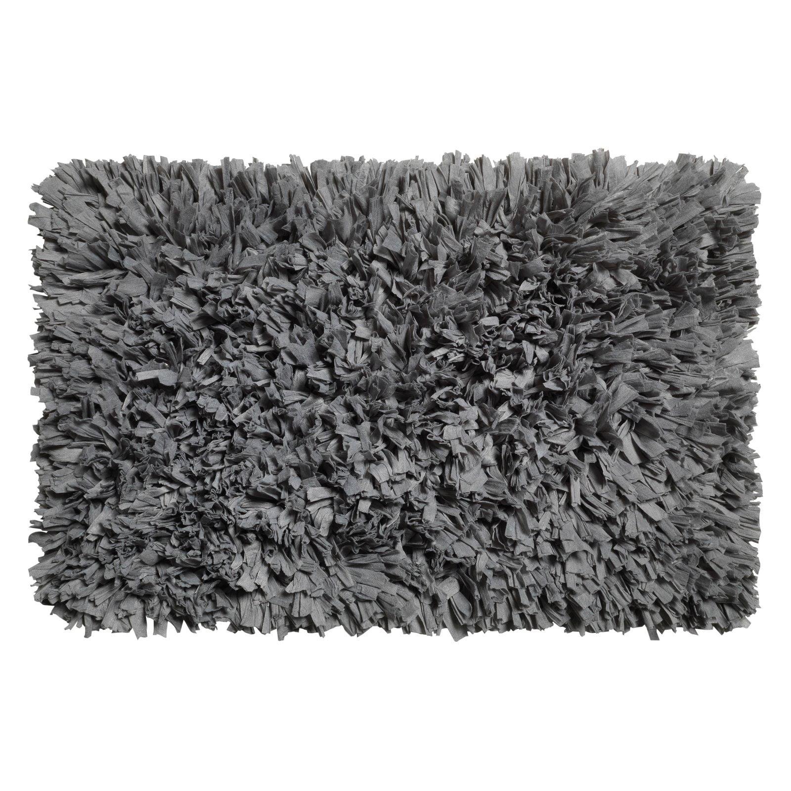 Paper Shag Cotton / Poly Blend Bath Mat, Pewter