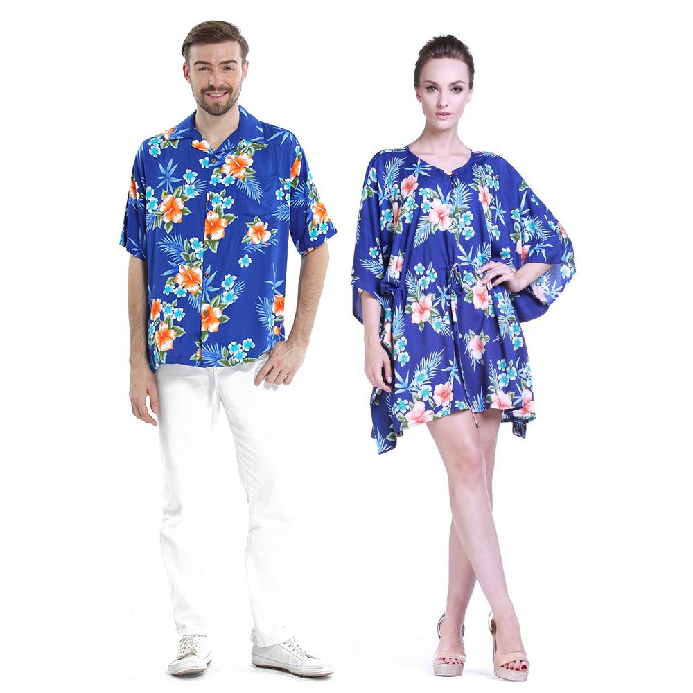 Couple Matching Hawaiian Luau Aloha Shirt Poncho Dress in...