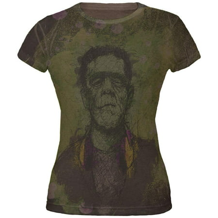 Halloween Frankenstein Raver Horror Movie Monster Juniors Soft T Shirt