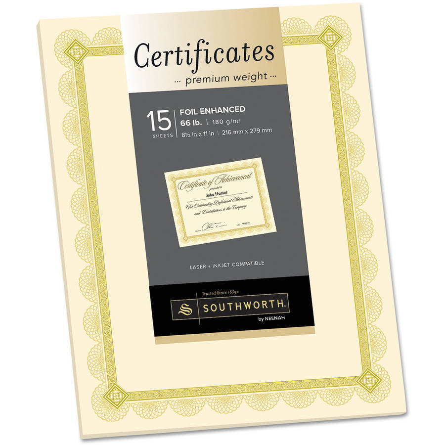 Southworth Premium Certificates, Ivory with Spiro Gold Foil Border, 15pk