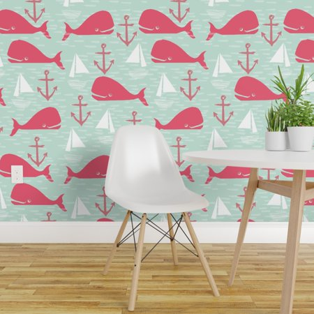 Wallpaper Roll Whale Nautical Preppy Anchor Sailboat Whales Ocean 24in