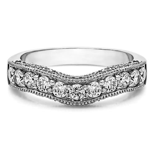 Sterling Silver Vintage Filigree & Milgrained Wedding Band mounted with Cubic Zirconia (1 Cts. twt) Sterling Silver, Size 13