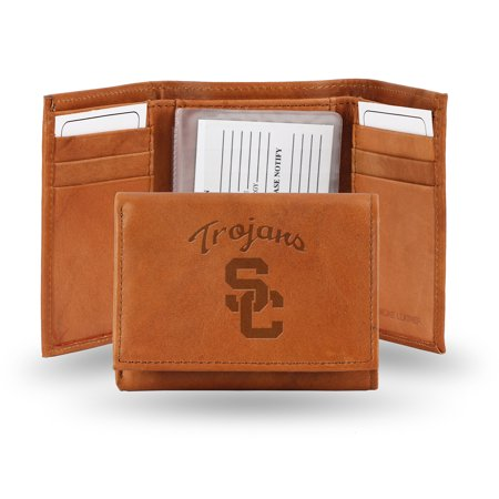 Team Logo Wallets - Southern Cal USC Trojans NCAA Team Logo Embossed Brown Leather Trifold Wallet
