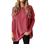 Women Long Sleeve Solid Color Crew Neck Comfy Blouse