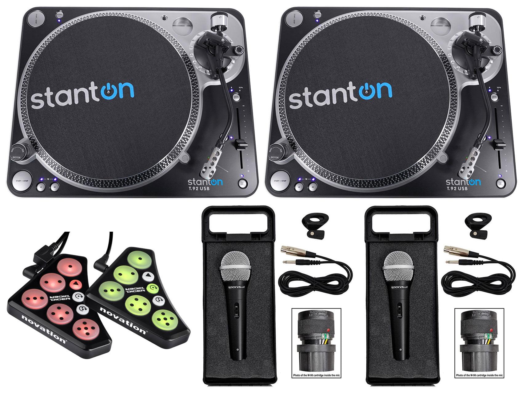 (2) Stanton T.92 M2 USB Direct-Drive S-arm USB DJ Turntables+Controller+(2) Mics by Stanton