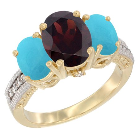 14K Yellow Gold Diamond Natural Garnet Ring 3-Stone Oval 8x6mm with Turquoise, sizes5-10 14k Gold Natural Garnet Ring