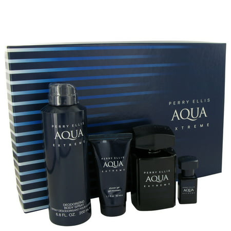 Perry Ellis Aqua Extreme by Perry Ellis Gift Set -- 3.4 oz Eau De Toilette Spray + .25 oz Mini EDT Spray + 6.8 oz Body Spray + 1.7 oz Shower Gel