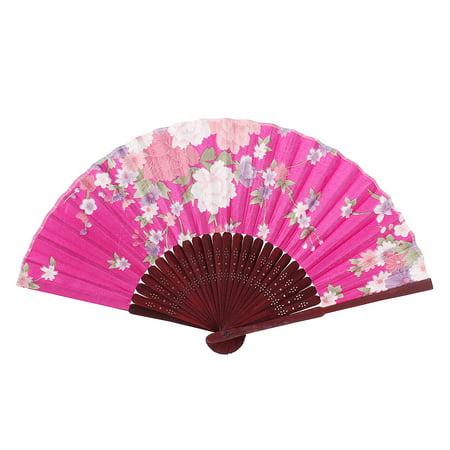 Ladies Women Hollow Out Bamboo Frame Dance Summer Handheld Hand Fan Fushcia - Asian Hand Fans