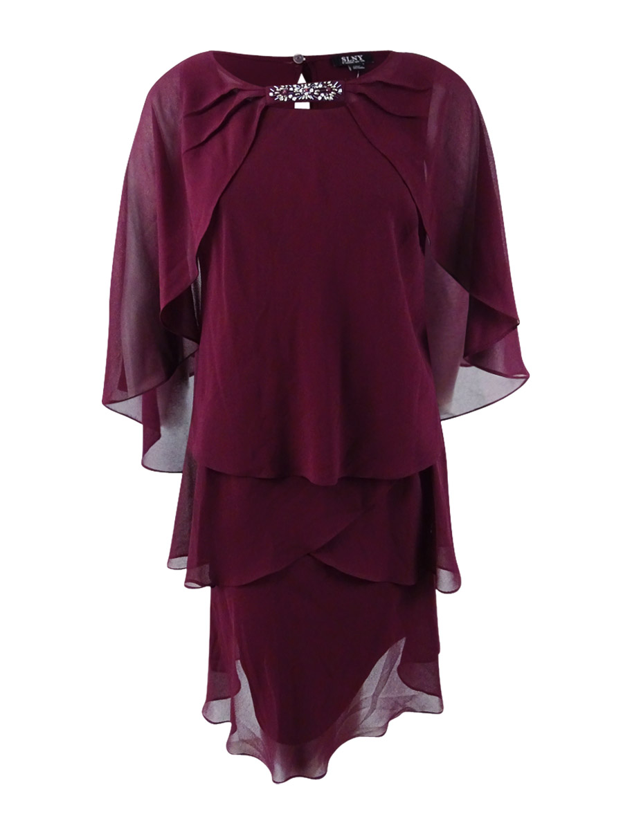 SLNY - SL Fashions Women\'s Plus Size Tiered Dress and Embellished ...