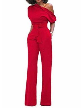 a120de278b1 Product Image One Shoulder Women Short Sleeve Solid One Piece Jumpsuit
