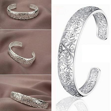 Kenneth Cole Bezel Bracelet (ZeAofa Women's 925 Sterling Silver Bezel Hollow Cuff Bangle Open Bracelet)
