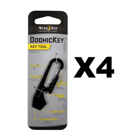 DoohicKey Key Tool Black Steel Keychain Multi-Tool w/Key Clip (4-Pack), Key-sized multi-tool that easily attaches to an existing key chain or strap By Nite Ize