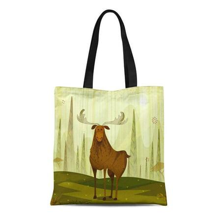 ASHLEIGH Canvas Tote Bag Antler Wild Reindeer in Jungle Forest Buck Cartoon Durable Reusable Shopping Shoulder Grocery Bag - Bulk Reindeer Antlers
