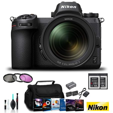 Nikon Z 7 Mirrorless FX-Format Digital Camera +24-70mm Lens Bundle 2X 64GB Memor