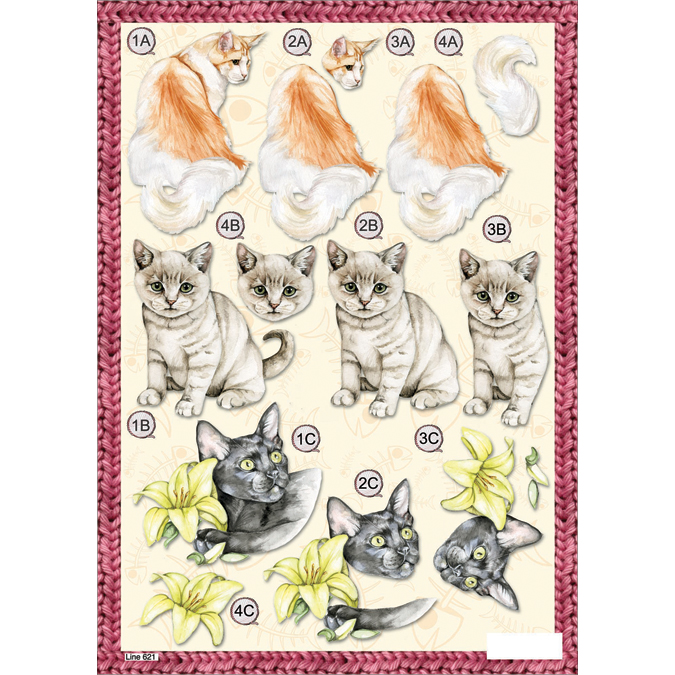 "3D Die-Cut Decoupage Sheet 8.3""X11.69""-Mixed Cats"