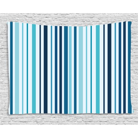 Abstract Tapestry, Vertical Striped Pastel Toned Color Bands Lines Background Nautical Design, Wall Hanging for Bedroom Living Room Dorm Decor, 60W X 40L Inches, Sky and Dark Blue, by Ambesonne