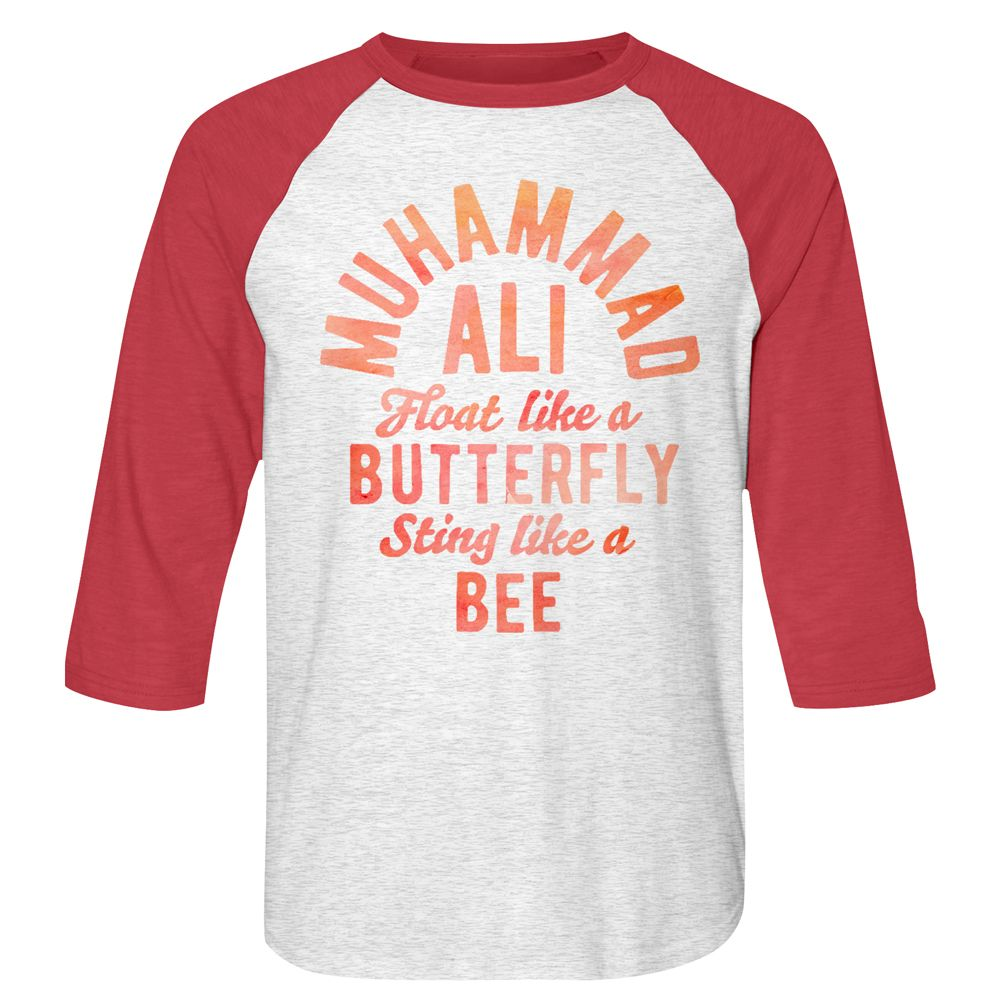 Muhammad Ali Butterfly and Bee White Red Raglan Baseball T-Shirt