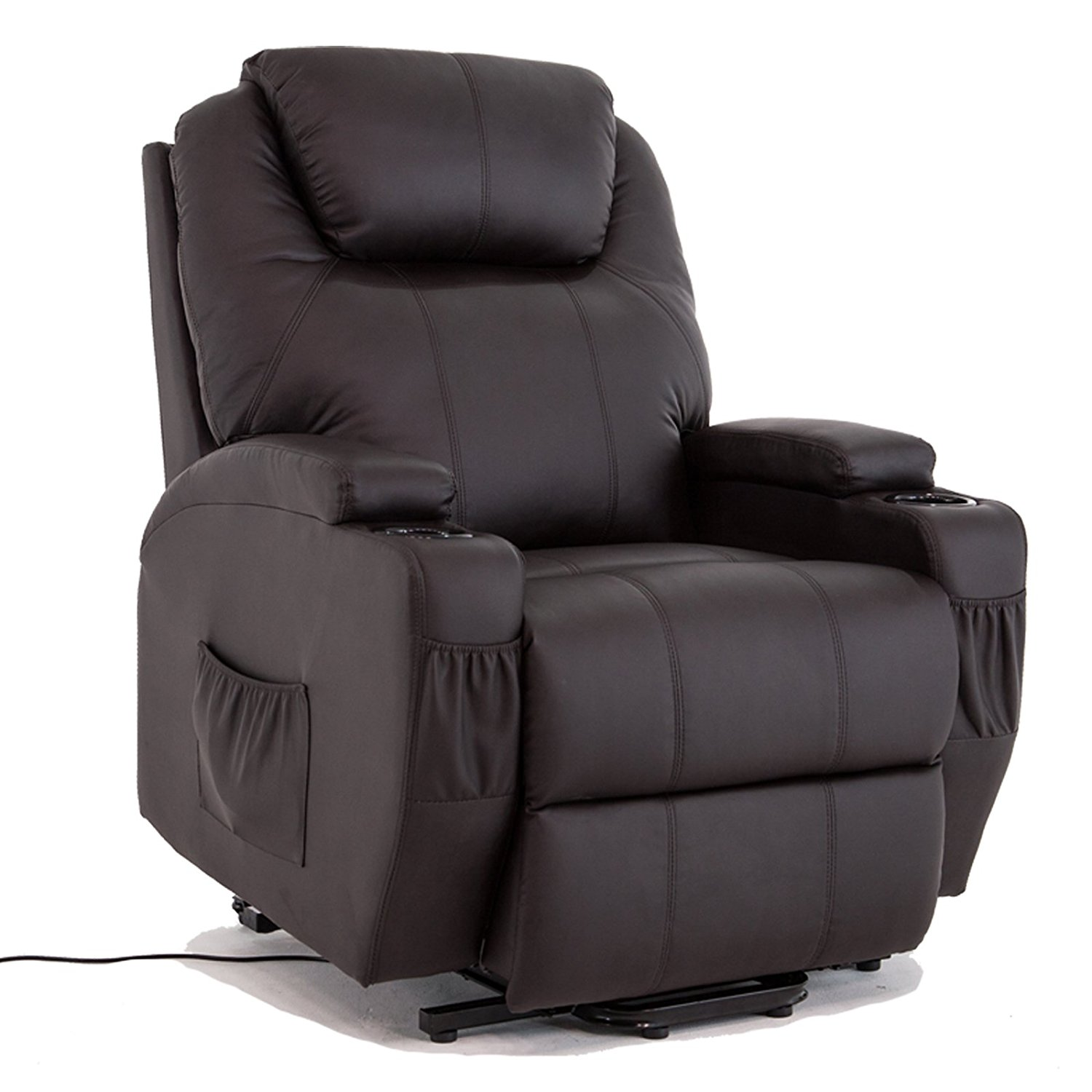 Uenjoy Power Lift Chair Recliner Armchair Real Leather Wall Hugger Lounge Seat ,Brown by Uenjoy