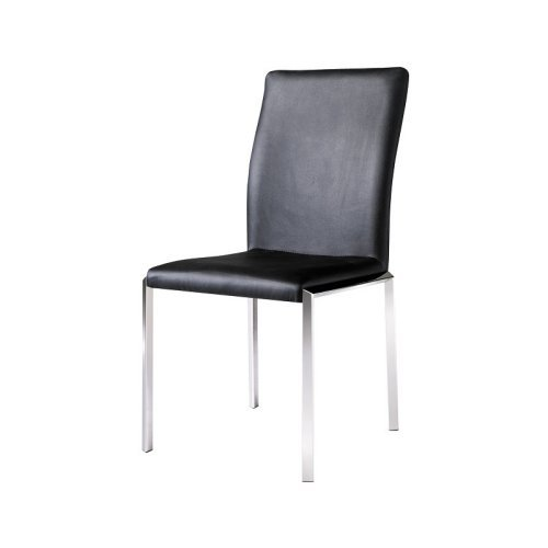Vengo Leatherette Side Chair Black with Stainless Steel Legs (2 Pack)-Color:White