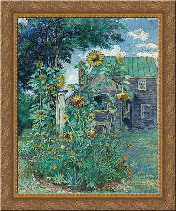 Artist's house in Hampton Bays 24x20 Gold Ornate Wood Framed Canvas Art by David Burliuk by FrameToWall