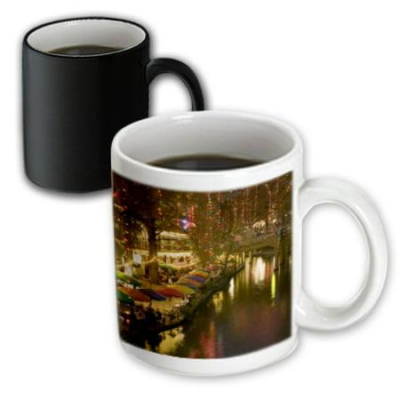 Evening Sun 16 Piece - 3dRose USA, TEXAS, San Antonio Riverwalk Area / Evening - US44 WBI0260 - Walter Bibikow, Magic Transforming Mug, 11oz