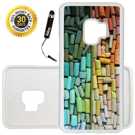 Custom Galaxy S9 Case (Pastel Box of Crayons) Edge-to-Edge Rubber White Cover Ultra Slim | Lightweight | Includes Stylus Pen by Innosub (Custom Crayons)