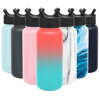 Simple Modern 32oz Summit Water Bottles with Straw Lid - Vacuum Insulated Tumbler Double Wall Travel Mug 18/8 Stainless Steel Flask - Ombre: Havana