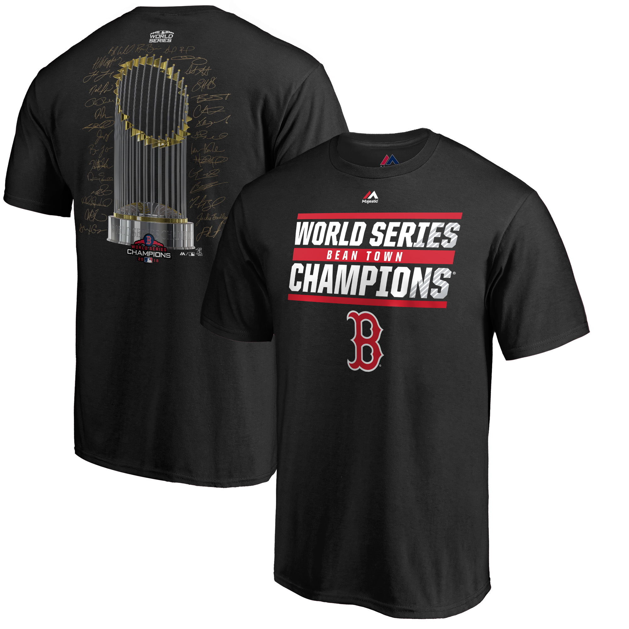 Boston Red Sox Majestic 2018 World Series Champions Signature Roster T-Shirt - Black