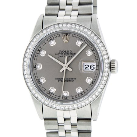 Pre-Owned Rolex Mens Datejust Steel Slate Grey 1.00 CT Diamond Watch Jubilee
