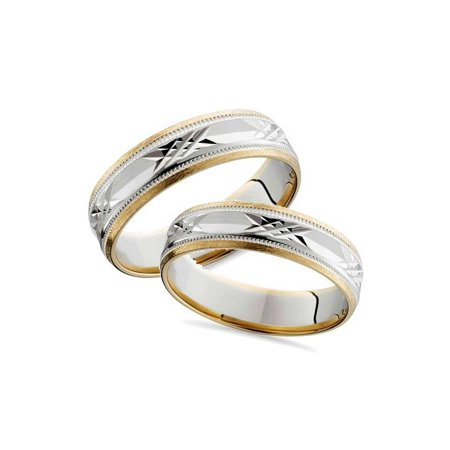 Pompeii3 Matching Swiss Cut 14k Gold His Hers Wedding Band