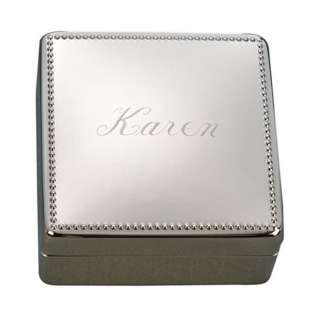 Personalized Monogrammed Beaded Jewelry Box, Nickel Plated (Personalized Boxes)