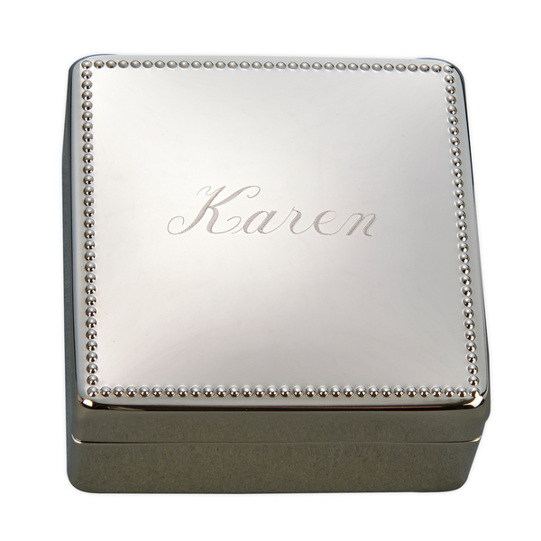 Personalized Monogrammed Beaded Jewelry Box, Nickel Plated