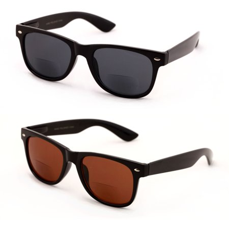 V.W.E. 2 Pairs Classic Bifocal Outdoor Reading Sunglasses - Comfortable Stylish Simple Readers Rx (Evangelion Sunglasses)