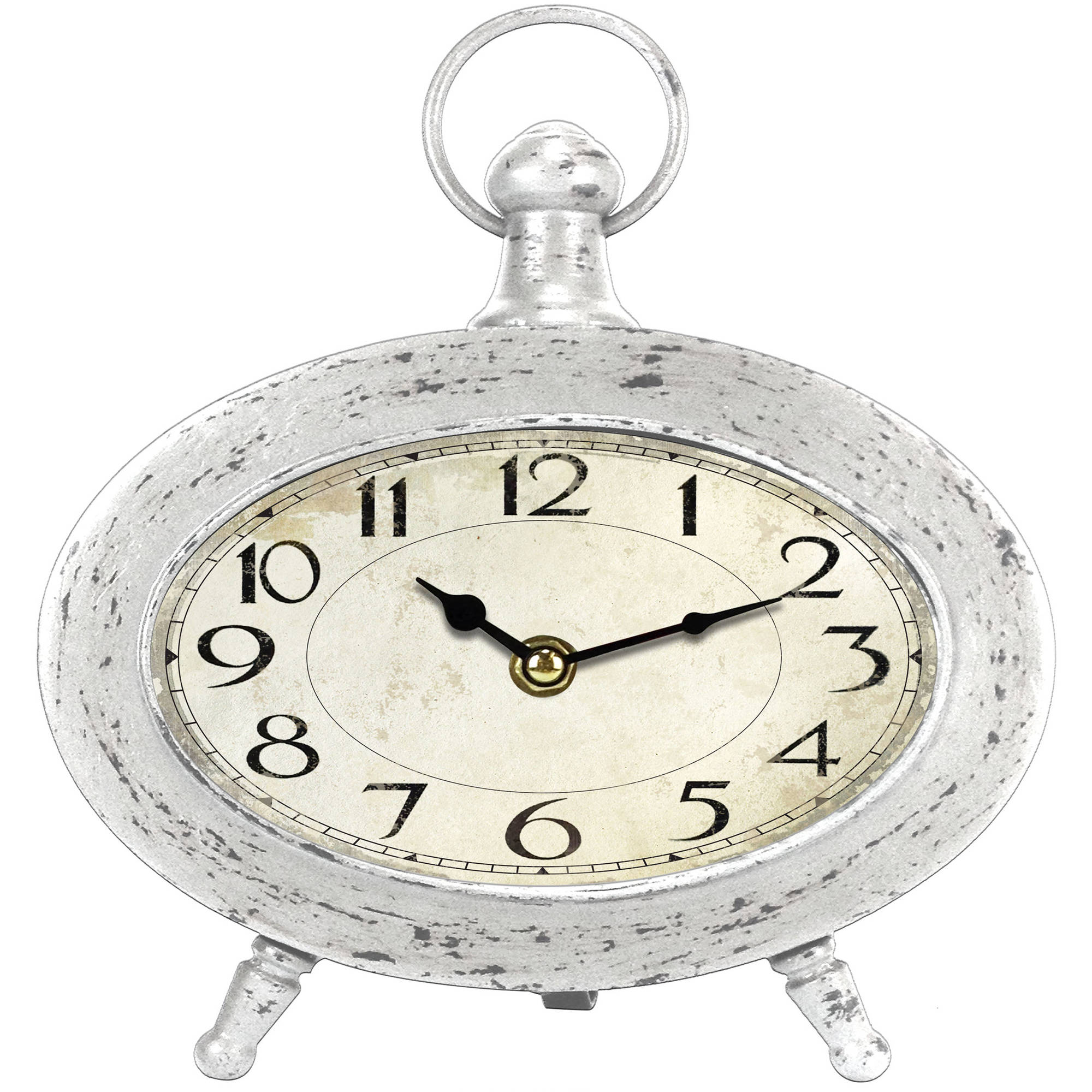 Generic Oval Quartz Analog Distressed White Metal Table Clock