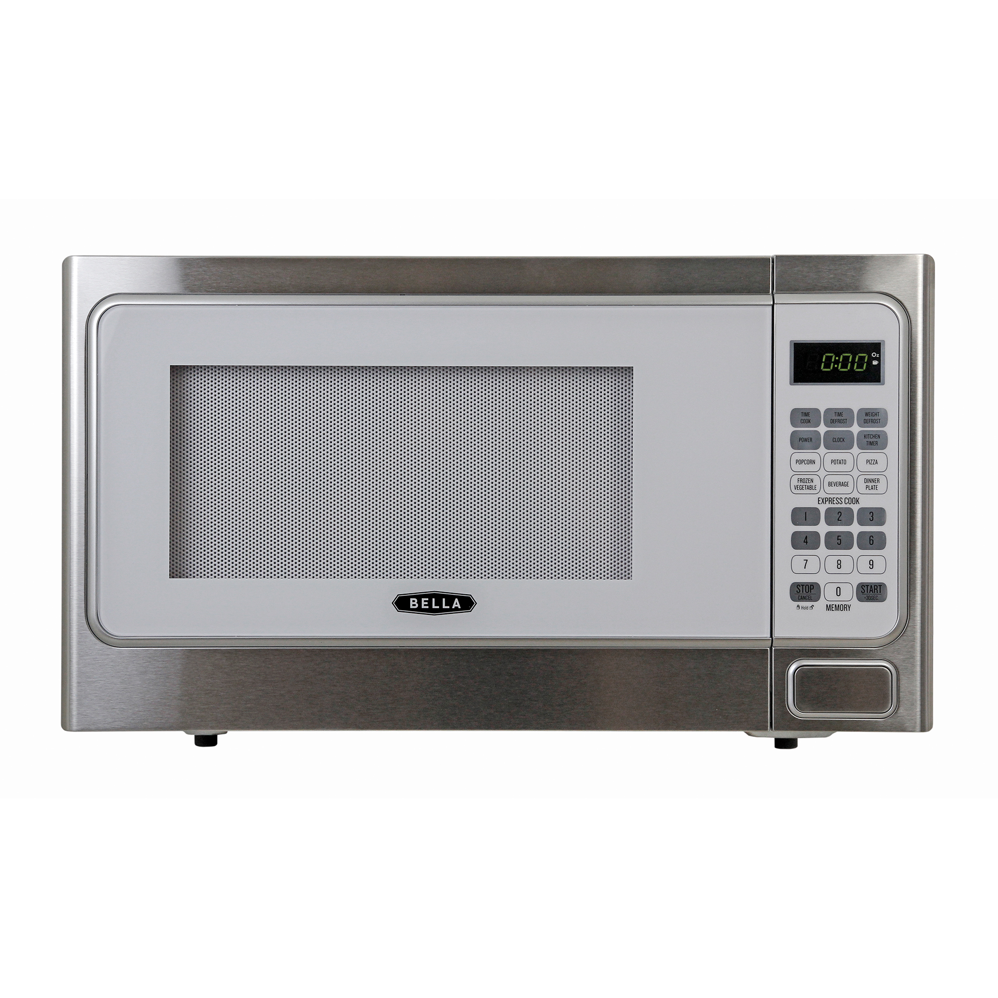 Bella 1.1 Cubic Foot 1000 Watt Microwave Oven in White with Stainless Steel