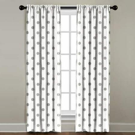 The Pillow Collection Grey Polkadot Window Panel