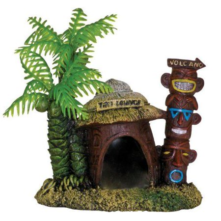 Blue Ribbon Pet Products-Exotic Environments Betta Hut With Palm Tree- Green/brown