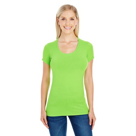 A Product of Threadfast Apparel Ladies' Spandex Short-Sleeve Scoop Neck T-Shirt - ACTIVE GREEN - XL [Saving and Discount on bulk, Code Christo]
