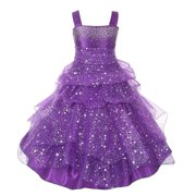 Girls Purple Rhinestone Star Organza Pick Up Junior Bridesmaid Dress 14