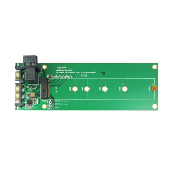 SATA and Mini SAS SFF-8643 to M.2 SATA PCI-e SSD Adapter
